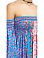 baratos Vestidos de Mulher-Feminino Bainha Vestido,Casual Sensual / Vintage Floral Decote Canoa Acima do Joelho Manga Longa Azul Poliéster Primavera / OutonoCintura