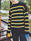 Normal Pullover Avslappet Herre,Stripet Rund hals Langermet Polyester Høst Vinter Medium Mikroelastisk