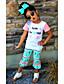 cheap Girls' Clothing Sets-Girls' Floral Sets,Cotton Summer Short Sleeve Clothing Set