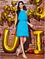 halpa Cocktail-mekot-Tuubi Pyöreä Polvipituinen Sifonki Cocktailjuhla Mekko kanssa Koristehelmillä / Nauhat mennessä TS Couture®