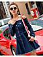 cheap Women's Dresses-Women's Going out Simple Denim Dress - Solid Colored Boat Neck Spring Cotton Blue M L XL