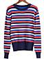 preiswerte Damen Pullover-Damen Standard Pullover-Lässig/Alltäglich Einfach Gestreift Rundhalsausschnitt Langarm Baumwolle Frühling Herbst Mittel Mikro-elastisch