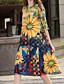 preiswerte Damen Kleider-Damen Lose Kleid-Ausgehen Blumen Rundhalsausschnitt Knielang 3/4 Ärmel Polyester Sommer Mittlere Hüfthöhe Mikro-elastisch Mittel