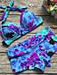 cheap Women's Swimwear & Bikinis-Women's Floral Halter Neck Blue Tankini Swimwear - Floral Print XL XXL XXXL