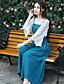 preiswerte Damen zweiteilige Anzüge-Damen Solide Stickerei Einfach Ausgehen Klub Bluse Hose Anzüge,V-Ausschnitt Frühling Herbst Lange Ärmel Mikro-elastisch