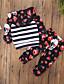 tanie Zestawy ubrań dla dziewczynek-Komplet odzieży Bawełna Poliester Dla dziewczynek Prążki Kwiaty Wiosna Jesień Długi rękaw Urocza Aktywny Black