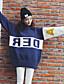 preiswerte Damen Pullover-Damen Standard Pullover-Lässig/Alltäglich Einfach Einfarbig Rundhalsausschnitt Langarm Baumwolle Herbst Mittel Mikro-elastisch