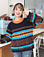 preiswerte Damen Pullover-Damen Standard Strickjacke-Lässig/Alltäglich Gestreift Rundhalsausschnitt Langarm Baumwolle Herbst Winter Mittel Mikro-elastisch