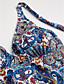 رخيصةأون ملابس السباحة والبيكيني 2017 للنساء-M L XL طباعة ملابس السباحة ثلاثة قطع أزرق قبة مرتفعة حول الرقبة زهري نسائي