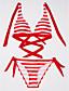 cheap Bikinis-Women's Fine Stripe Color Block Halter Neck Black Red Blue Pant Bikini Swimwear - Striped M L XL Black / 2pcs / Summer / Holiday