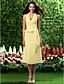ieftine Rochii de Domnișoare de Onoare-Linia -A Prințesă În V Halter Lungime Tea Șifon Rochie Domnișoară Onoare cu Drapat Părți de LAN TING BRIDE®