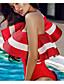 ieftine Neopren-Pentru femei Pe Umăr bodysuit Club Bumbac Șic Stradă - Mată / Bloc Culoare Bufantă Alb negru / Vară / Subțire / Super Sexy