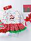 cheap Baby Girls' Clothing Sets-Baby Girls' Active / Street chic Christmas / Holiday / Going out Print Mesh Long Sleeve Regular Regular Cotton Clothing Set White