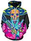 cheap Men's Hoodies & Sweatshirts-Men's Plus Size Active / Exaggerated Long Sleeve Loose Hoodie - 3D / Cartoon Print Hooded Black 4XL / Fall / Winter