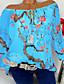 billige T-skjorter til damer-Løse skuldre Store størrelser T-skjorte Dame - Blomstret, Trykt mønster Gatemote Ut på byen Svart / Vår