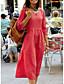 abordables Vestidos de Mujer-Mujer Básico Línea A Vestido - Retazos, Un Color Midi Escote en Pico