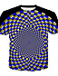 billige T-shirts og undertrøjer til herrer-Rund hals Herre - Geometrisk / 3D Plusstørrelser T-shirt Blå XXXL