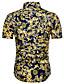 hesapli Erkek Gömlekleri-Erkek Gömlek Çiçekli Temel Büyük Bedenler Koyu Mavi / Kısa Kollu
