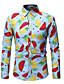 hesapli Erkek Gömlekleri-Erkek Gömlek Desen, Çiçekli / Geometrik / Grafik Vintage / Sokak Şıklığı Gökküşağı
