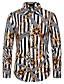 hesapli Erkek Gömlekleri-Erkek Gömlek Desen, Çizgili / Geometrik Temel Siyah ve Beyaz / Beyaz Beyaz