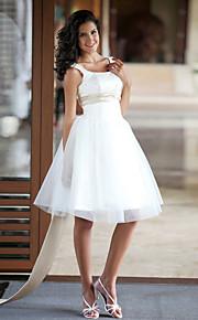 Princesse Encolure dégagée Mi-long Satin Tulle Robes de mariée personnalisées avec Billes Ceinture / Ruban par LAN TING BRIDE®