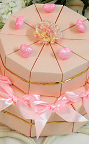 Pyramid Card Paper Favor Holder with Ribbons Flower Favor Boxes - 20