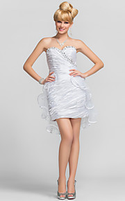 Sheath / Column Strapless Sweetheart Short / Mini Tulle Charmeuse Graduation / Cocktail Party Dress with Beading Criss Cross Side Draping