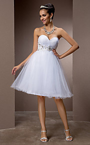 7edfa1e0d7ea A-Linie Srdcový výstřih Ke kolenům Tyl Svatební šaty vyrobené na míru s  Korálky