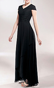 Sheath / Column V Neck Asymmetrical Chiffon Mother of the Bride Dress with Beading Appliques Ruched by LAN TING BRIDE®