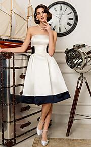 Trapèze Princesse Sans Bretelles Mi-long Satin Robes de mariée personnalisées avec Noeud Ceinture / Ruban par LAN TING BRIDE®