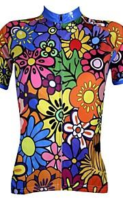 ILPALADINO Femme Manches Courtes Maillot de Cyclisme - Arc-en-ciel Floral / Botanique Vélo Maillot, Séchage rapide, Résistant aux