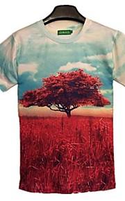 Ανδρικά Καθημερινό Βαμβάκι Με Τύπωμα Κοντομάνικο T-shirt-Πολύχρωμο