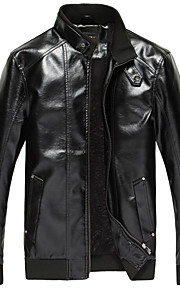 Men's Classic & Timeless Leather Jacket-Solid Color,Pure Color