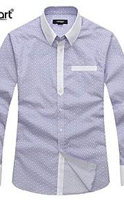 Муж. Офис Чистый цвет Рубашка Деловые / Классический и неустаревающий Однотонный Синий / Длинный рукав