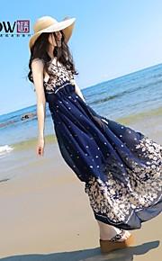 MiShow ®Women'sRound Collar Bohemian Style Foloral Pattern Chiffon Sleeveless Slim Beach Dress