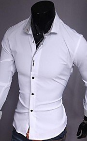 Муж. Офис Рубашка Хлопок Тонкие Деловые Однотонный Белый L / Длинный рукав