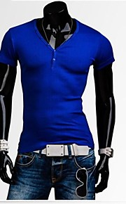 Ανδρικά Καθημερινό Μείγμα Βαμβακιού Απλό Κοντομάνικο T-shirt-Μαύρο / Μπλε / Πράσινο / Λευκό