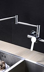 Современный Горшок Filler На стену Вращающийся Керамический клапан Два отверстия Одной ручкой Два отверстия Хром, кухонный смеситель