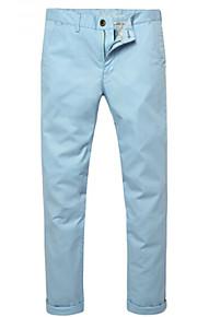 สำหรับผู้ชาย คลาสสิกและถาวร กางเกงขายาว / กางเกง Chinos / กางเกงขาสั้น กางเกง - สีพื้น / สีทึบ ฟ้า / ทำงาน