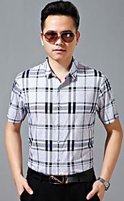 رجالي قميص قياس كبير منقوش, عمل أبيض / كم قصير
