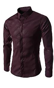 Муж. Офис Чистый цвет Рубашка Деловые / Классический и неустаревающий Однотонный Морской синий L / Длинный рукав