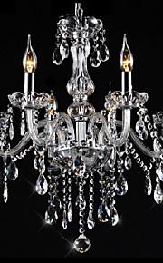 6 lumières Bougie Lustre Lumière d'ambiance - Cristal, 110-120V / 220-240V, Blanc Crème, Ampoule non incluse / 15-20㎡ / E12 / E14