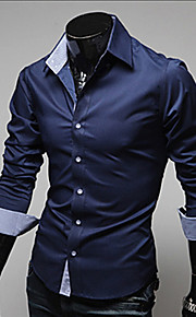 Men's Work Business Plus Size Cotton Slim Shirt - Solid Colored Basic Classic Collar Navy Blue XL / Long Sleeve / Spring / Fall