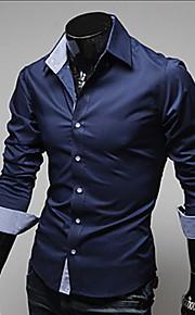 Chemise Grandes Tailles Homme, Couleur Pleine - Coton Basique Travail Business Col Classique Mince Bleu marine XL / Manches Longues / Printemps / Automne