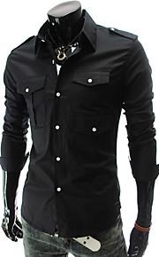 Муж. Рубашка Классический воротник Однотонный / Длинный рукав