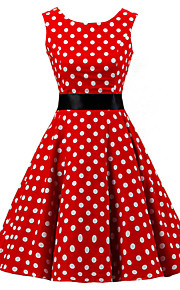 Women's Going out Vintage Cotton A Line Dress - Polka Dot Red, Print / Spring / Summer