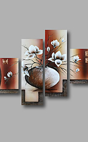 Oil Painting Hand Painted - Floral / Botanical Modern Canvas