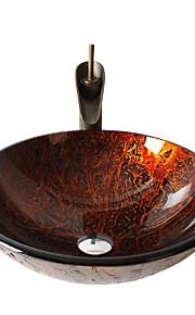 Antico 1.2*42*14.5 Tondo Materiale del dissipatore è Vetro temperatoLavandino bagno Rubinetto per bagno Anello di montaggio per bagno