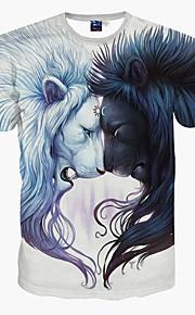 男性用 スポーツ - プリント Tシャツ スリム 動物 ライオン / 半袖
