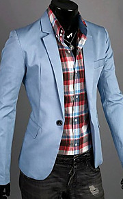 Homme Quotidien / Travail Printemps / Automne Normal Blazer, Couleur Pleine Col en V Manches Longues Coton Bleu de minuit / Vert / Bleu XL / XXL / XXXL / Mince